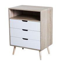 HOMCOM Side Cabinet, 60Wx40D x78H cm-Natural Wood Colour