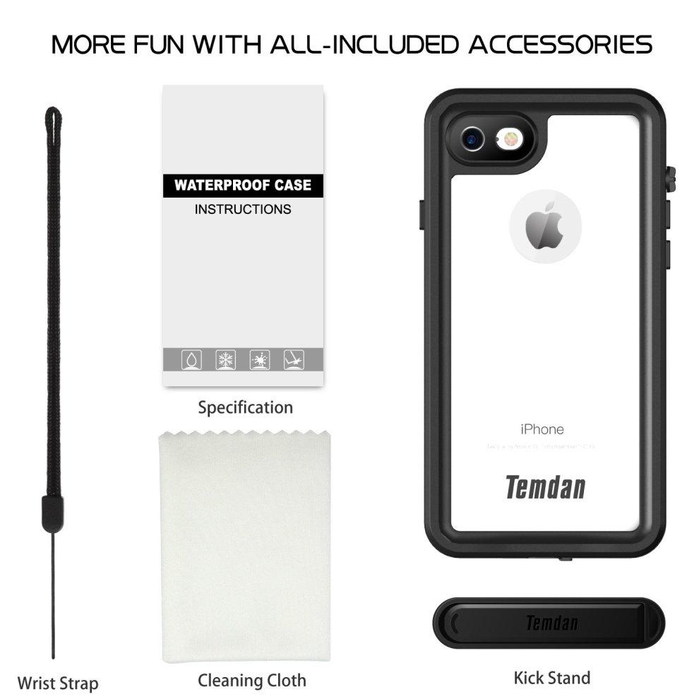 competitive price 8c29e 9d546 Temdan iPhone 7 & iPhone 8 Waterproof Case with Kickstand Fingerprint  Sensitive Slim Built in Screen Protector Shockproof Waterproof Case for...