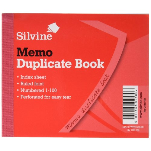 Silvine Duplicate Memo Book Feint 200 Sheets Small - Pack Of 12 - Thomas Tank -  thomas tank engine birthday party platesnapkinscupsconfetti