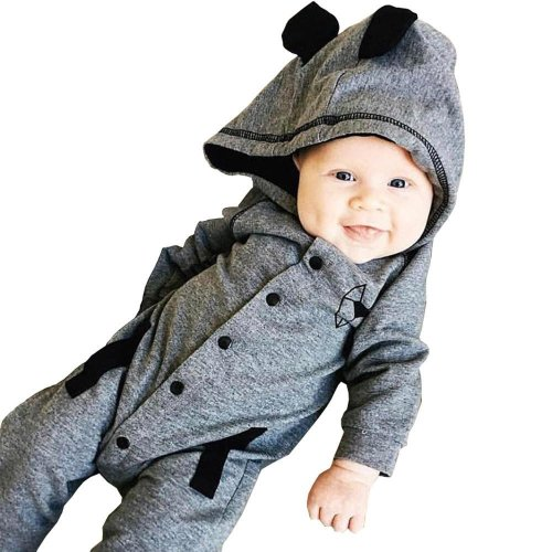 Baby romper clothes Toddler Baby Boys Long Sleeve Fox Print Hooded set Romper Jumpsuit Clothes baby Set drop shipping