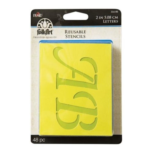 Plaid 30618 Folk Art Wedding Day Lettering Stencil  Card Stock  2 in.- 48 Piece - pack of 3