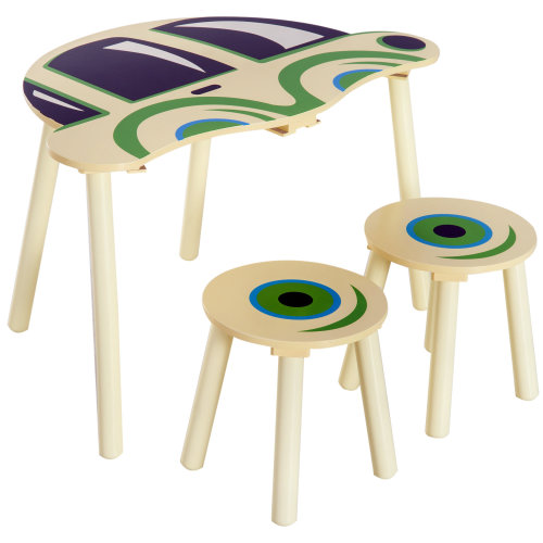 HOMCOM Kids Children 2 Stools and 1 Table Set Wooden Furniture Car Shape Multi-colour Read Drawing Play Table