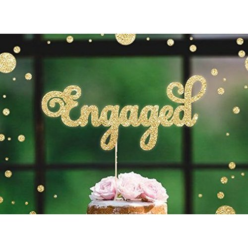ENGAGED Gold Glitter Cake Topper Wedding Engagement We Are Were We're Party Bridal Shower Toppers Cupcake