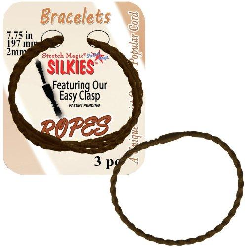 """Silkies Rope Bracelets 7.75"""" 3/Pkg-Brown"""
