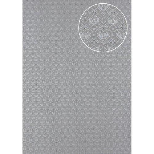 Atlas PRI-5048-3 Baroque wallcovering wall shimmering grey silver 5.33 sqm