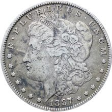 United States 1887 Morgan Dollar Coin Silver New Orleans Mint