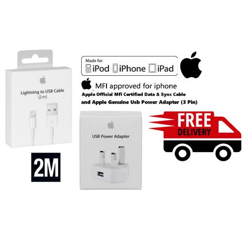 Apple Lightning Cable(2m) and USB Wall Charger Plug