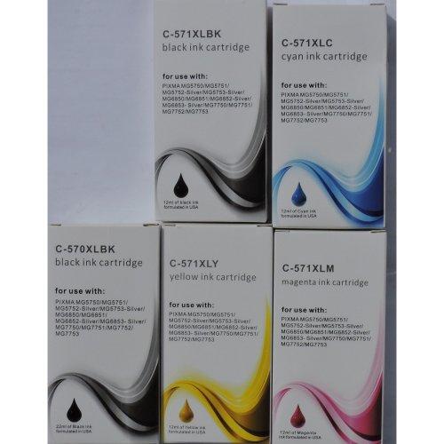 5 Non Oem XL Compatible Cartridges for Pixma TS6050, TS6051, Pro-100s