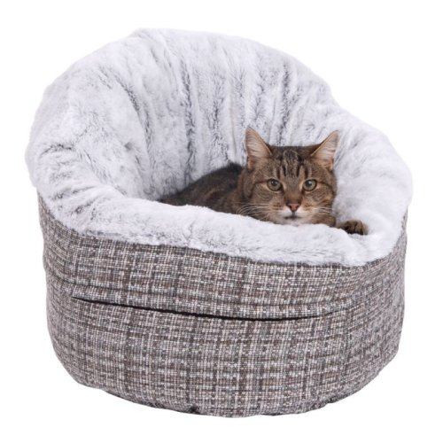 Round Cuddle Cat Bed Den House Cave Washable