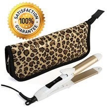2-in-1 Mini Hair Straightener Travel Curling Iron Flat Iron Dual Voltage 374 Degree Temperature Nano Titanium - Insulated Carry Bag Included