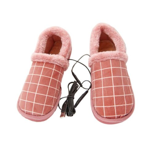 [Pink Plaid] Heating Shoes Warm USB Electric Heated Slipper usb Foot Warmer for Winter 24cm