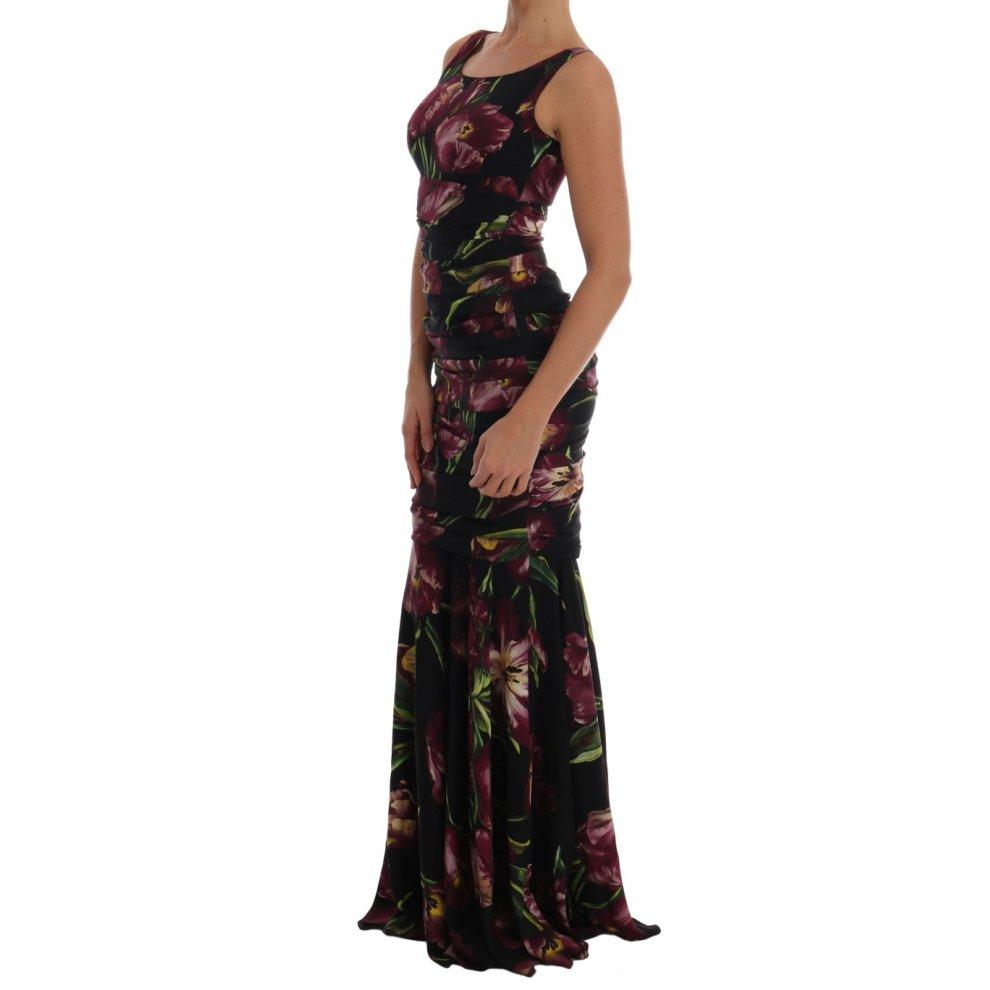 ab7e4a9f ... Dolce & Gabbana Black Silk Stretch Purple Tulip Dress - 1 ...