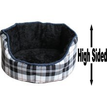 """Dog Bed Thick Black Chequered Material Fleece 26"""""""