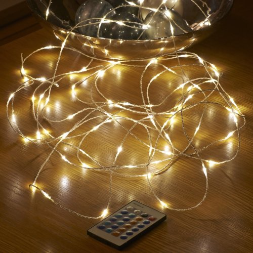 Auraglow 10m Remote Control Plug In Invisible Wire 100 Micro LED Christmas String Lights - Warm White