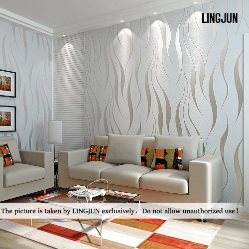 Modern Minimalist Non-woven Water Plant Pattern 3D Flocking Embossed Wallpaper Roll Living Room Bedroom Silver Grey (1)