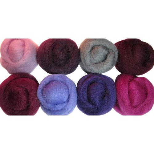 "Wistyria Editions Wool Roving 12"" .25oz 8/Pkg-Lilacs"