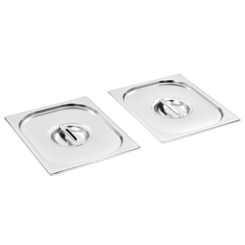 vidaXL 2x Pan Lids GN 1/2 325x26mm Stainless Steel Cooking Tray Guard Cover