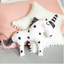 Black Unicorn Soft Throw Pillow