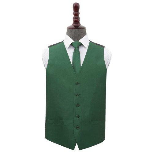 Emerald Green Shantung Wedding Waistcoat & Tie Set 42'