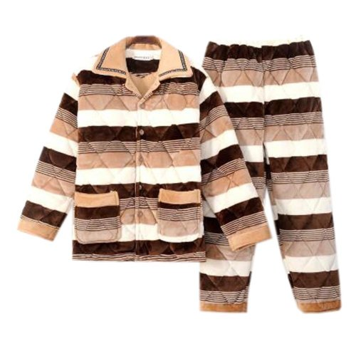 Men Pajamas Warm Thick Cotton Winter Suit Modern Set Sleepwear/Nightwear Clothes for Home, C10