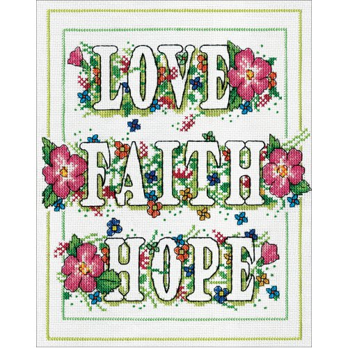"""Design Works Counted Cross Stitch Kit 8""""X10""""-Love & Faith (14 Count)"""