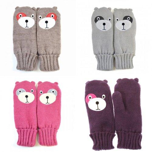 Childrens/Kids Girls Teddy Bear Design Winter Mittens