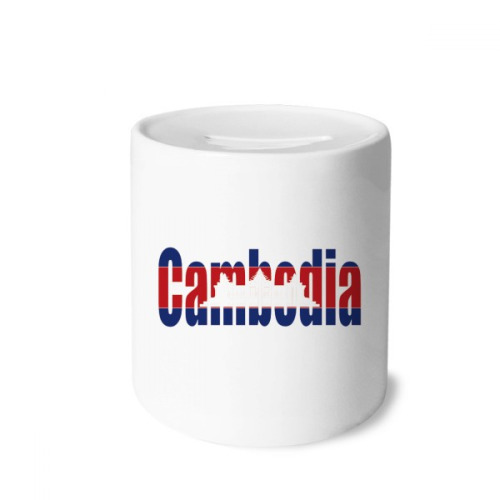 Cambodia Country Flag Name Money Box Saving Banks Ceramic Coin Case Kids Adults