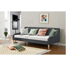 Chic Dream Guest Day Bed in Grey Fabric Generously Padded for Comfort