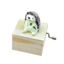Adorable Wooden Small Hedgehog Music Decoration Clockwork Music Boxes