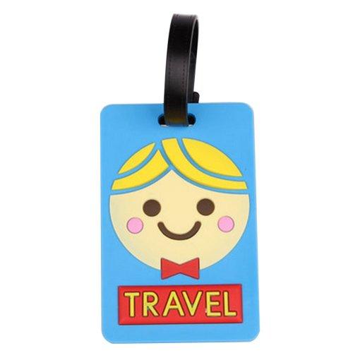 Set Of 2 Fashional Luggage Tag Bag Tags Silicone Name Tag Travel Tag [Blue Boy]