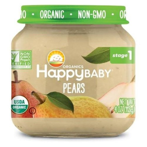 Happy Baby 318850 Stage 1 Pear Clearly Crafted Baby Food in Jar, 4 oz - Pack of 12