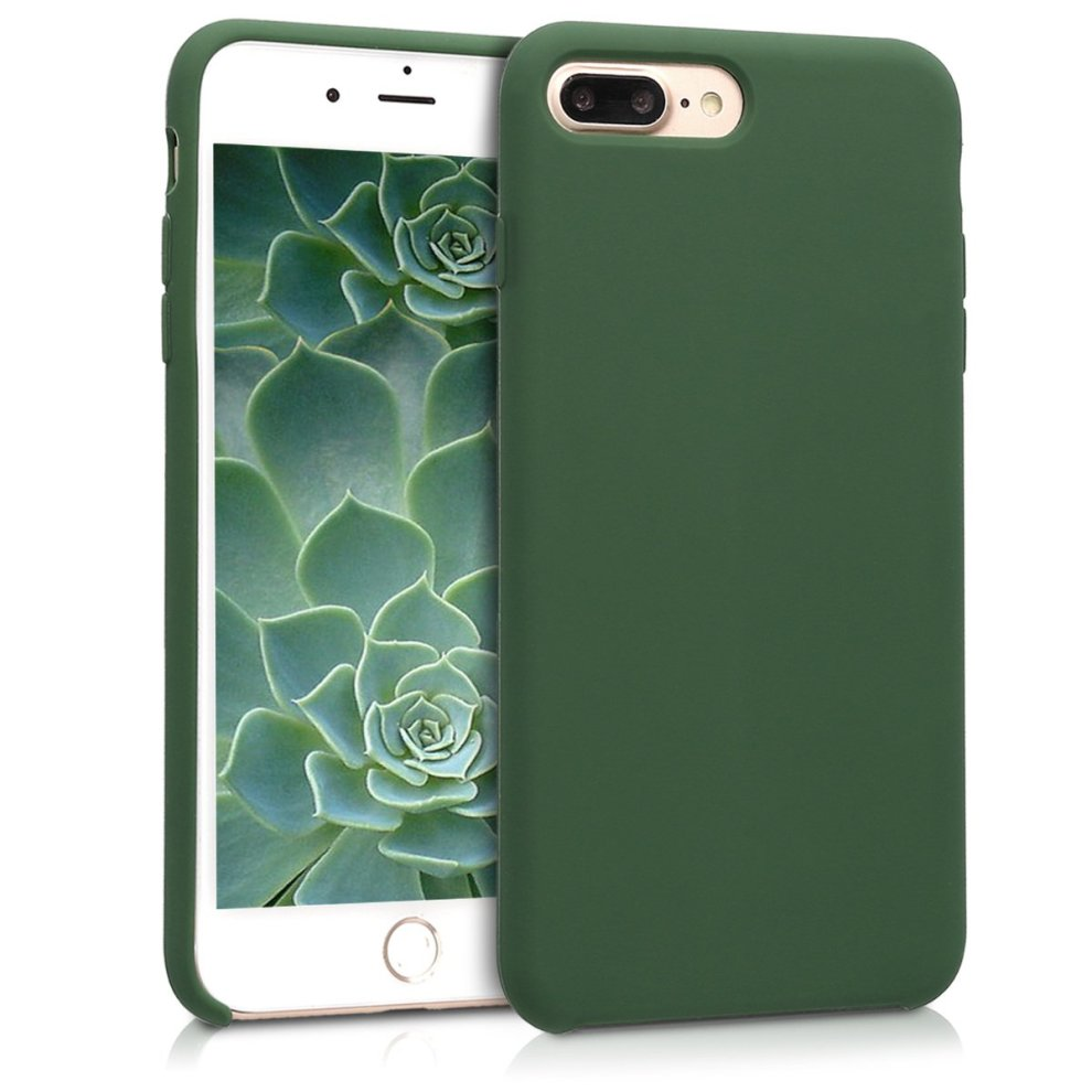 f08f327267b kwmobile TPU Silicone Case for Apple iPhone 7 Plus   8 Plus - Soft Flexible  Rubber Protective Cover - Dark Green on OnBuy