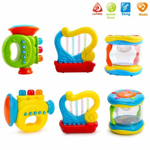 deAO My Musical Playset with Light Up Features and Interactive Toy Instruments for Toddlers-Pack of 3 (Trumpet, Drum, Harp)