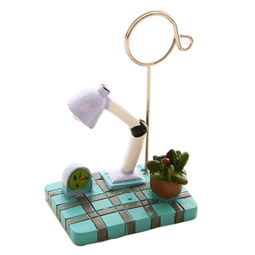 Set of 2 Office Photos and Memo Holders (Blue Table Lamp Style, 10 cm)
