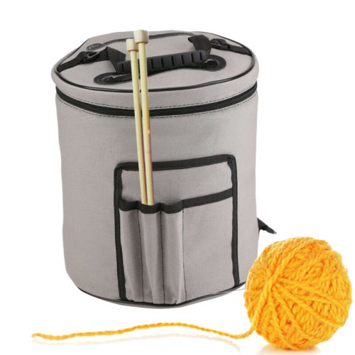 Portable Storage Tote Bag Canvas Knitting Tool Yarn&Wool Organizer Holder Tools
