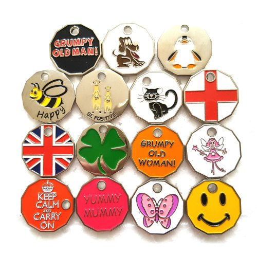 6 x new shape trolley tokens with keyrings