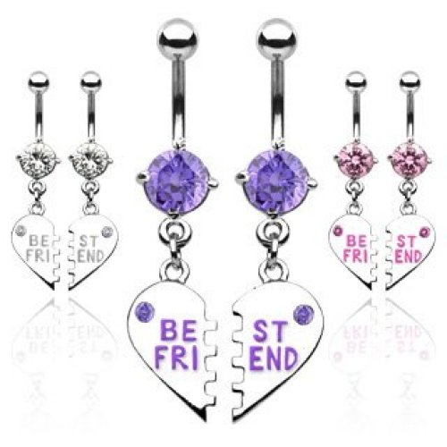 Crystal BEST FRIENDS Heart Charm Split In to 2 Separate Belly Bars