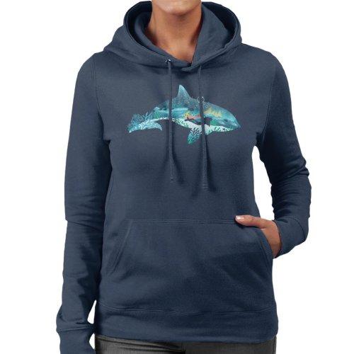 Dolphin Scuba Diver Silhouette Women's Hooded Sweatshirt