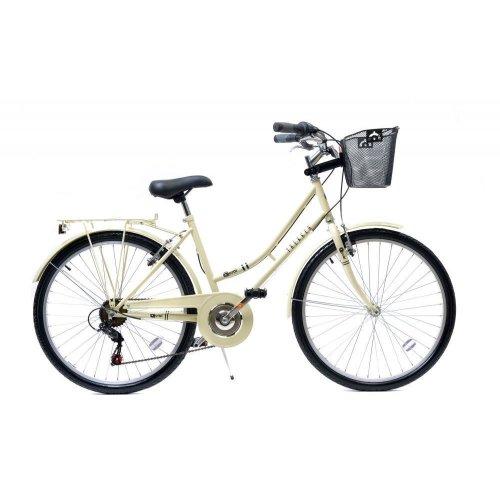 """Aurai Trekker Ladies Heritage Traditional Basket Bike Bicycle 26in 6Sp Cream 26"""""""