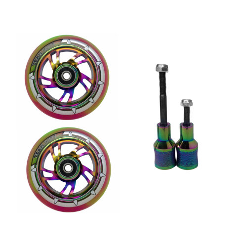 Pair Scooter Mixed PU Colour Wheels 100mm Alloy Core+ Stunt Pegs Combo