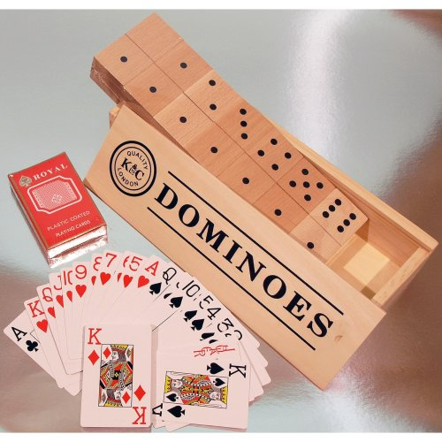 Double six giant wooden dominoes with two packs of large indices playing cards 00132