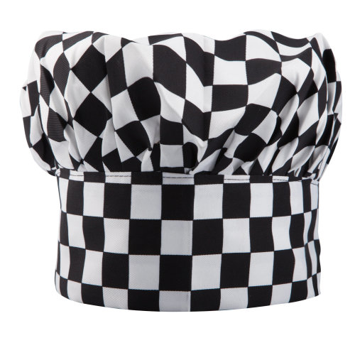 Trixes Black & White Chequered Chef Hat | Adult Fancy Dress Hat