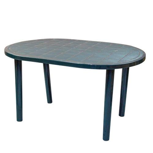 Resol Gala Oval Plastic Outdoor Garden Rectangular Dining Table - 140 x 90cm - Green