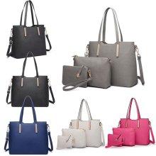 Miss Lulu 3pcs Shoulder Handbag + Cross Body Bag + Purse