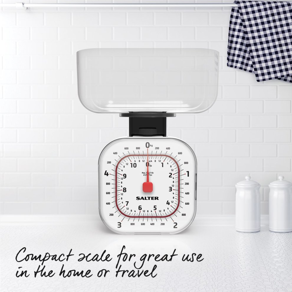 Salter Mechanical Kitchen Scales 5kg with 1 3L Dishwasher Safe Weighing  Bowl, Fit Inside for Neat Storage, Clock Face Style Large Digits for Easy