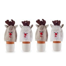 Set of Four Fabric Christmas Reindeer Egg Cosies