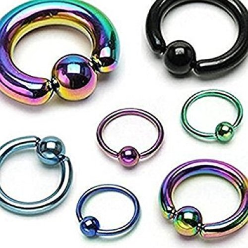 Titanium Plated Surgical Steel CBR Captive Bead Ring Universal Piercing Body jewellery