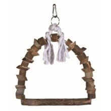 Natural Living Arch Swing, 15 × 20cm - Swing Trixie Bird Rope Wooden Perch -  arch swing trixie natural bird rope wooden perch sizes budgie 15 20 cm
