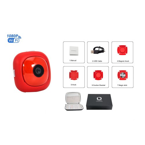 OnReal Mini Action Camera Full HD Live Camera 1080P Hidden Cam supports Motion Detection Gapless Loop Videos with 4 differents mini Brackets Sport...