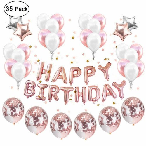IEONGI Party Balloons Decoration Rose Gold, Set 12 inch Rose Gold Confetti Birthday Decor Party Supplies Rose Gold Party Kit Banner Rose Gold...